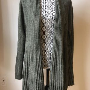 Cashmere open front cardigan rib knit